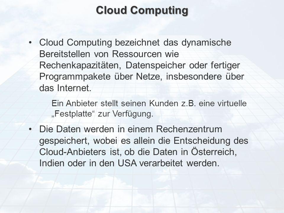 ECM Neue HorizonteIIR Wien 03.10.2011Dr. Ulrich KampffmeyerIIR_ECM_Kff_20111003_Show 29 Cloud Computing Cloud Computing bezeichnet das dynamische Bere