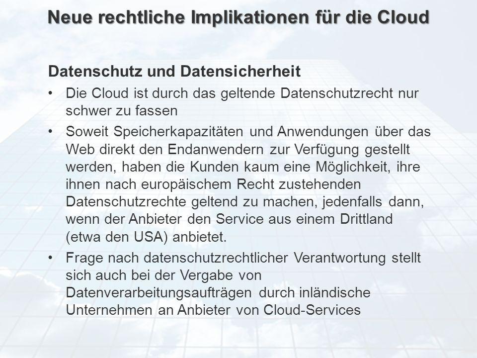 ECM Neue HorizonteIIR Wien 03.10.2011Dr. Ulrich KampffmeyerIIR_ECM_Kff_20111003_Show 31 Neue rechtliche Implikationen für die Cloud Datenschutz und Da