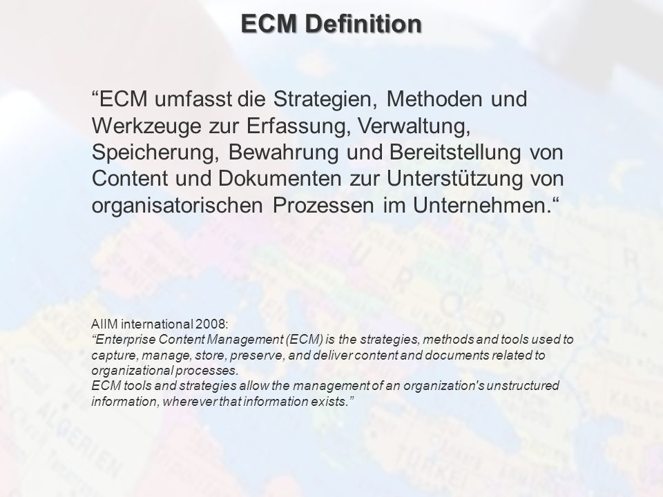 ECM Neue HorizonteIIR Wien 03.10.2011Dr. Ulrich KampffmeyerIIR_ECM_Kff_20111003_Show 5 ECM Definition ECM umfasst die Strategien, Methoden und Werkzeu