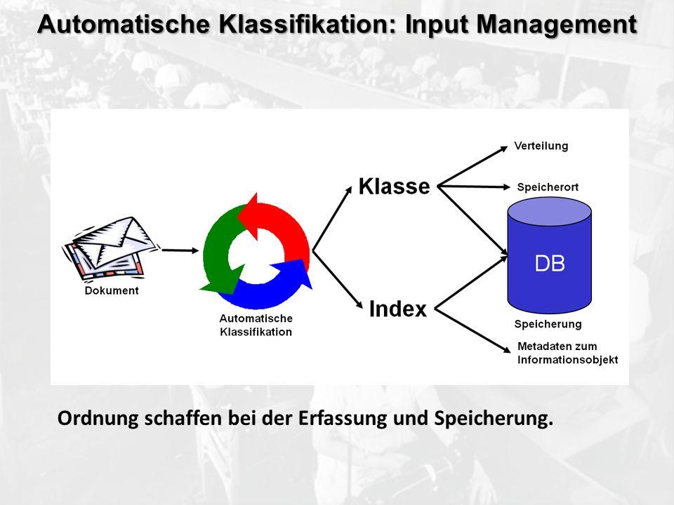 ECM Neue HorizonteIIR Wien 03.10.2011Dr. Ulrich KampffmeyerIIR_ECM_Kff_20111003_Show 60 Automatische Klassifikation: Input Management Ordnung schaffen