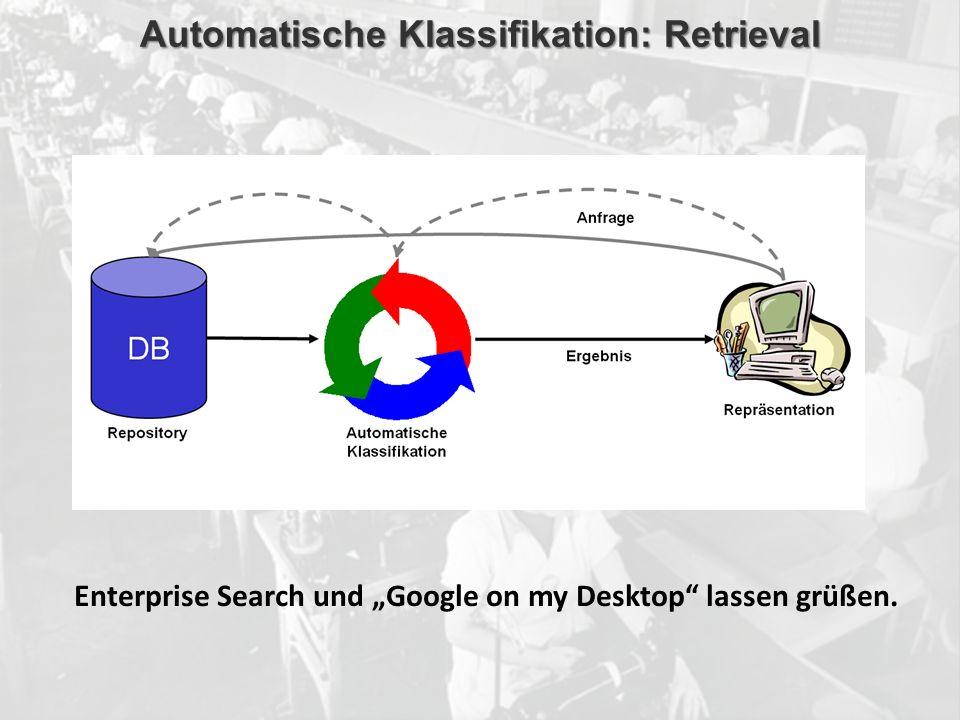 ECM Neue HorizonteIIR Wien 03.10.2011Dr. Ulrich KampffmeyerIIR_ECM_Kff_20111003_Show 61 Automatische Klassifikation: Retrieval Enterprise Search und G