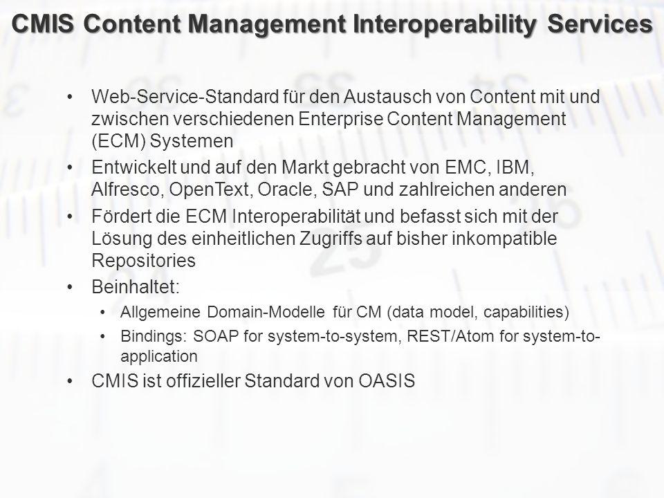 ECM Neue HorizonteIIR Wien 03.10.2011Dr. Ulrich KampffmeyerIIR_ECM_Kff_20111003_Show 65 CMIS Content Management Interoperability Services Web-Service-