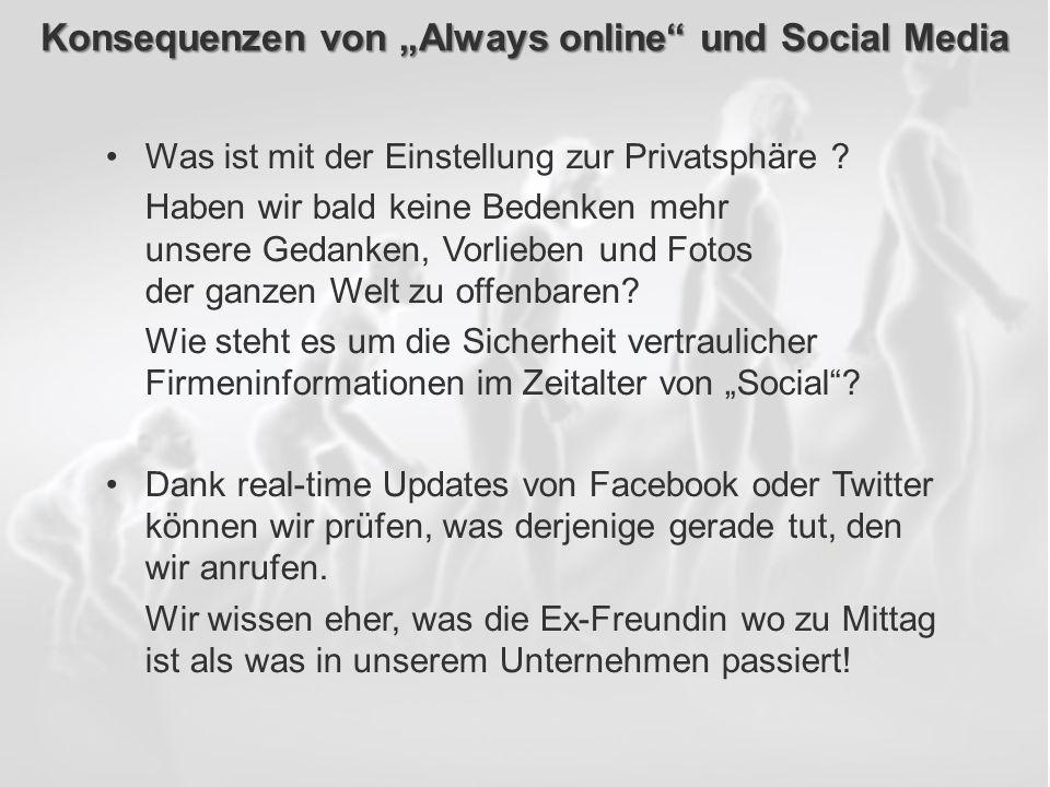 ECM Neue HorizonteIIR Wien 03.10.2011Dr. Ulrich KampffmeyerIIR_ECM_Kff_20111003_Show 84 Konsequenzen von Always online und Social Media Was ist mit de