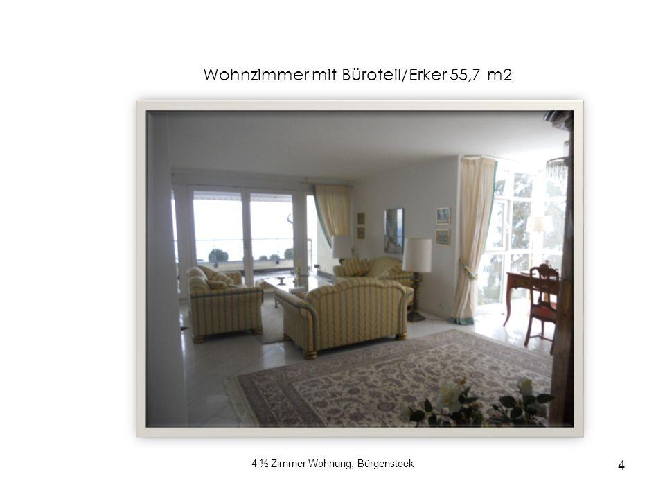 4 4 ½ Zimmer Wohnung, Bürgenstock Wohnzimmer mit Büroteil/Erker 55,7 m2