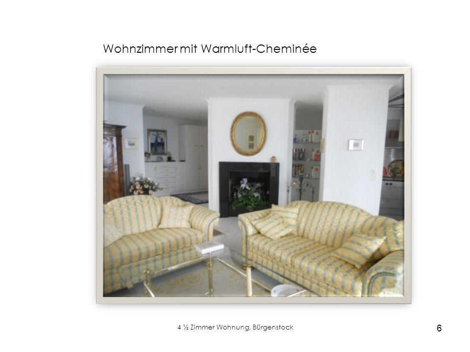4 ½ Zimmer Wohnung, Bürgenstock 6 Wohnzimmer mit Warmluft-Cheminée