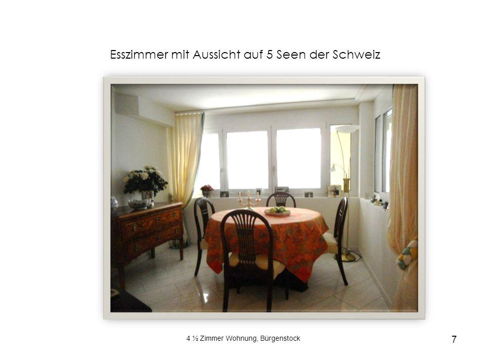 4 ½ Zimmer Wohnung, Bürgenstock 7 Esszimmer mit Aussicht auf 5 Seen der Schweiz