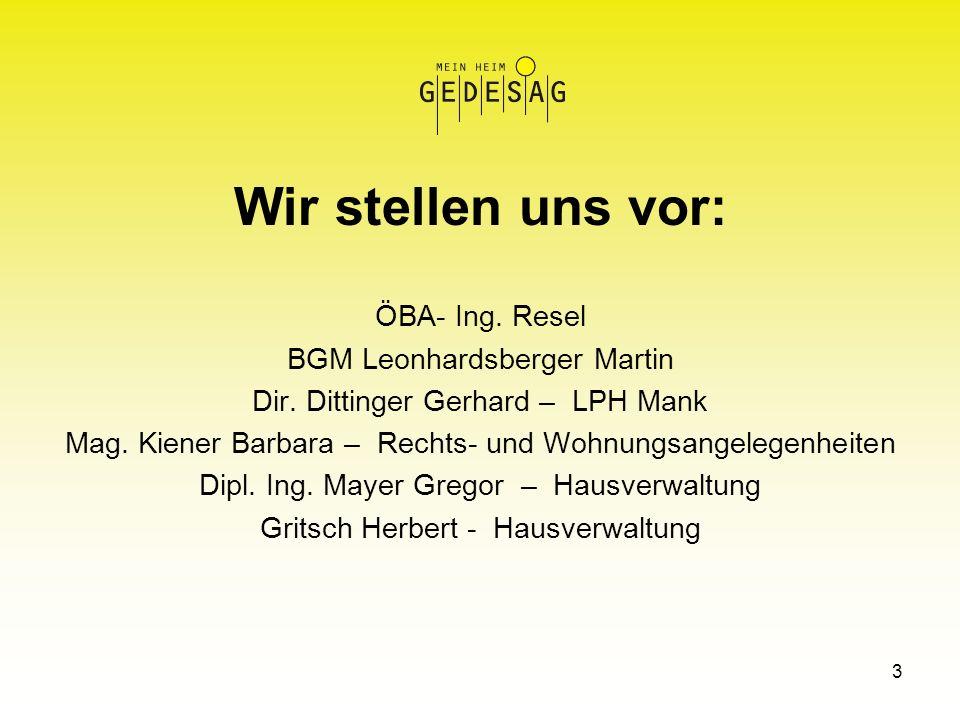 3 Wir stellen uns vor: ÖBA- Ing. Resel BGM Leonhardsberger Martin Dir. Dittinger Gerhard – LPH Mank Mag. Kiener Barbara – Rechts- und Wohnungsangelege
