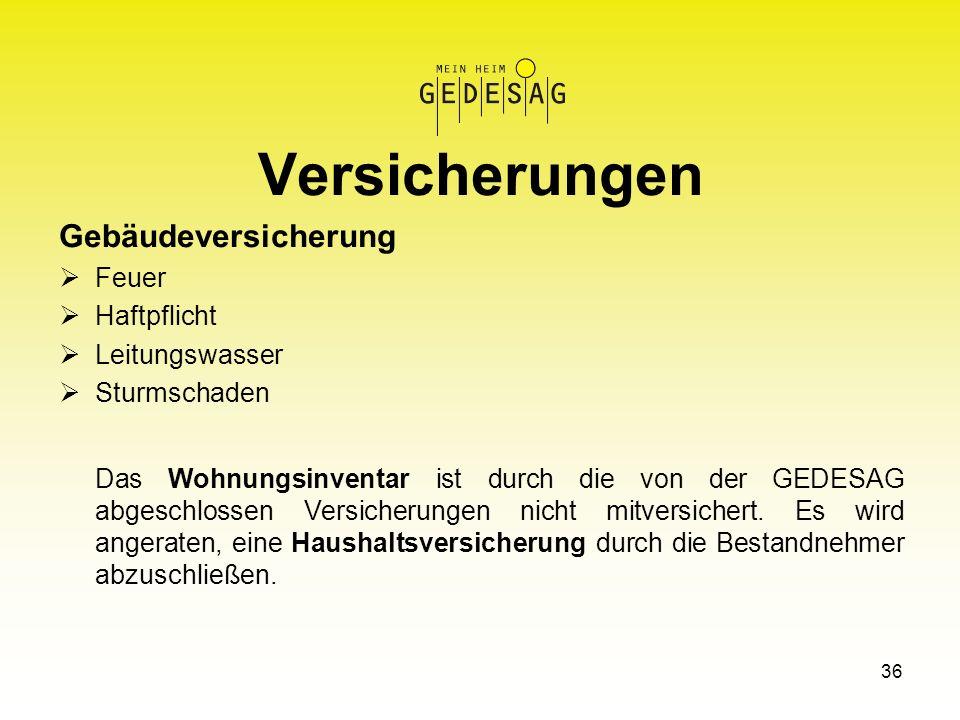 36 Versicherungen Gebäudeversicherung Feuer Haftpflicht Leitungswasser Sturmschaden Das Wohnungsinventar ist durch die von der GEDESAG abgeschlossen V