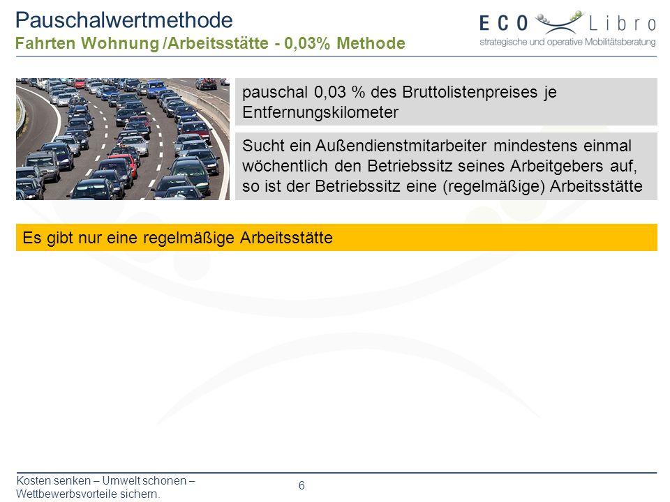 Kosten senken – Umwelt schonen – Wettbewerbsvorteile sichern. 6 Pauschalwertmethode Fahrten Wohnung /Arbeitsstätte - 0,03% Methode pauschal 0,03 % des