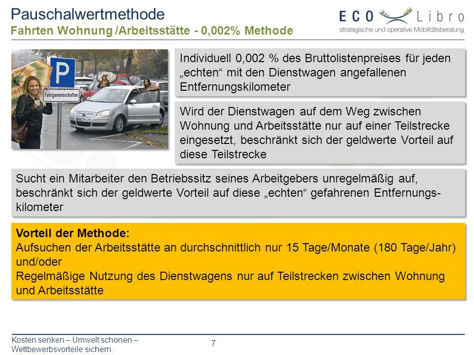 Kosten senken – Umwelt schonen – Wettbewerbsvorteile sichern. 7 Pauschalwertmethode Fahrten Wohnung /Arbeitsstätte - 0,002% Methode Wird der Dienstwag