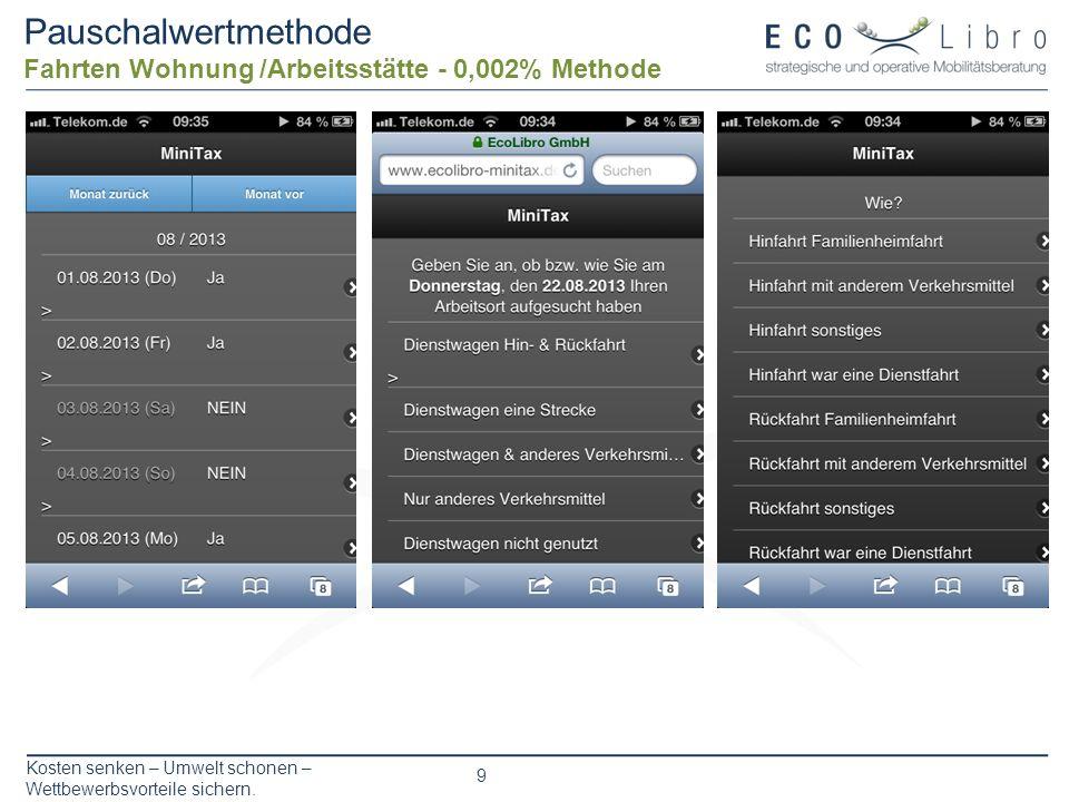 Kosten senken – Umwelt schonen – Wettbewerbsvorteile sichern. 9 Pauschalwertmethode Fahrten Wohnung /Arbeitsstätte - 0,002% Methode