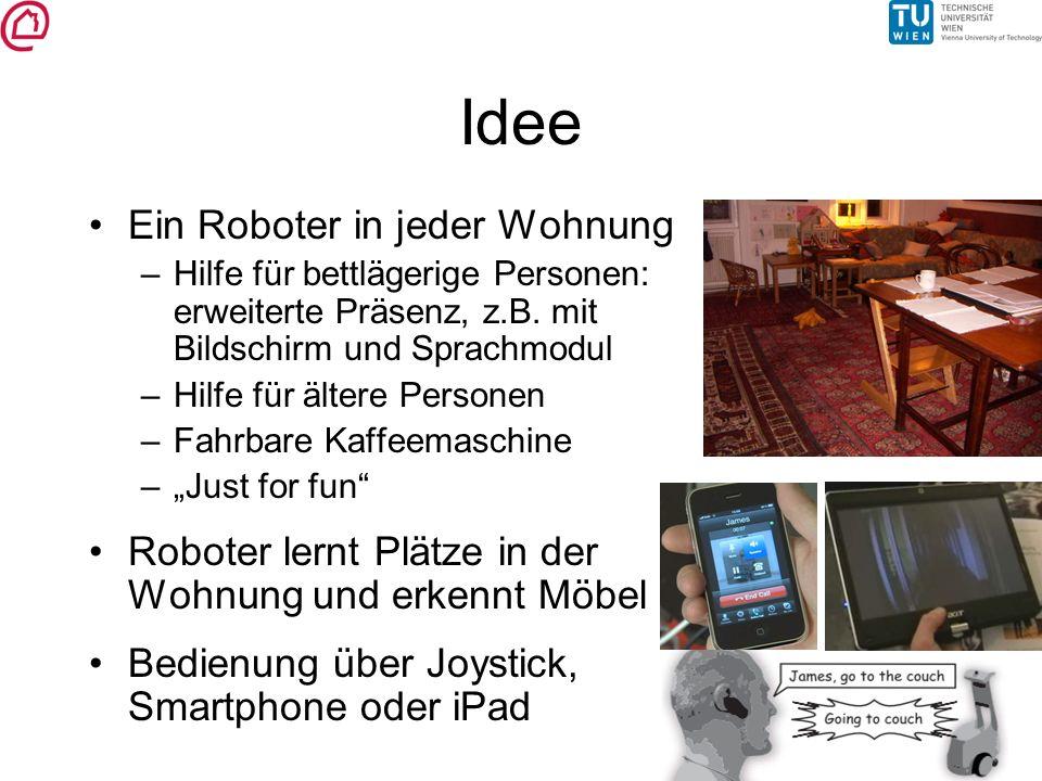 Idee Ein Roboter in jeder Wohnung –Hilfe für bettlägerige Personen: erweiterte Präsenz, z.B. mit Bildschirm und Sprachmodul –Hilfe für ältere Personen