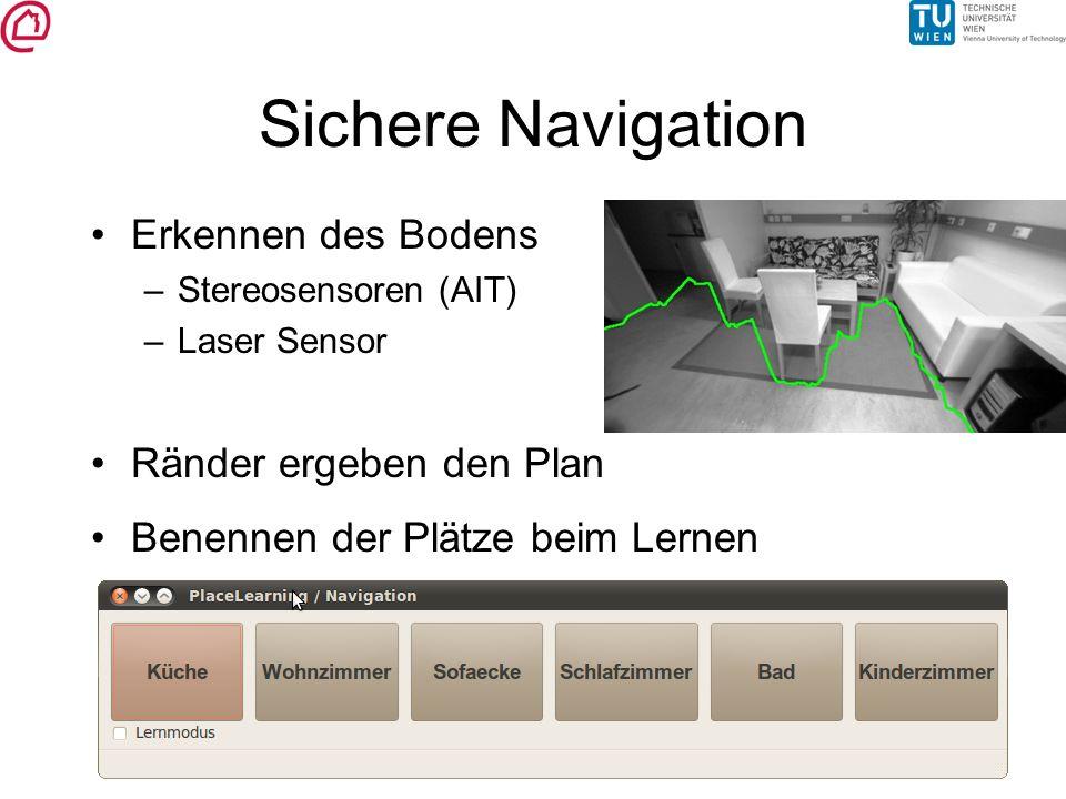Sichere Navigation Erkennen des Bodens –Stereosensoren (AIT) –Laser Sensor Ränder ergeben den Plan Benennen der Plätze beim Lernen