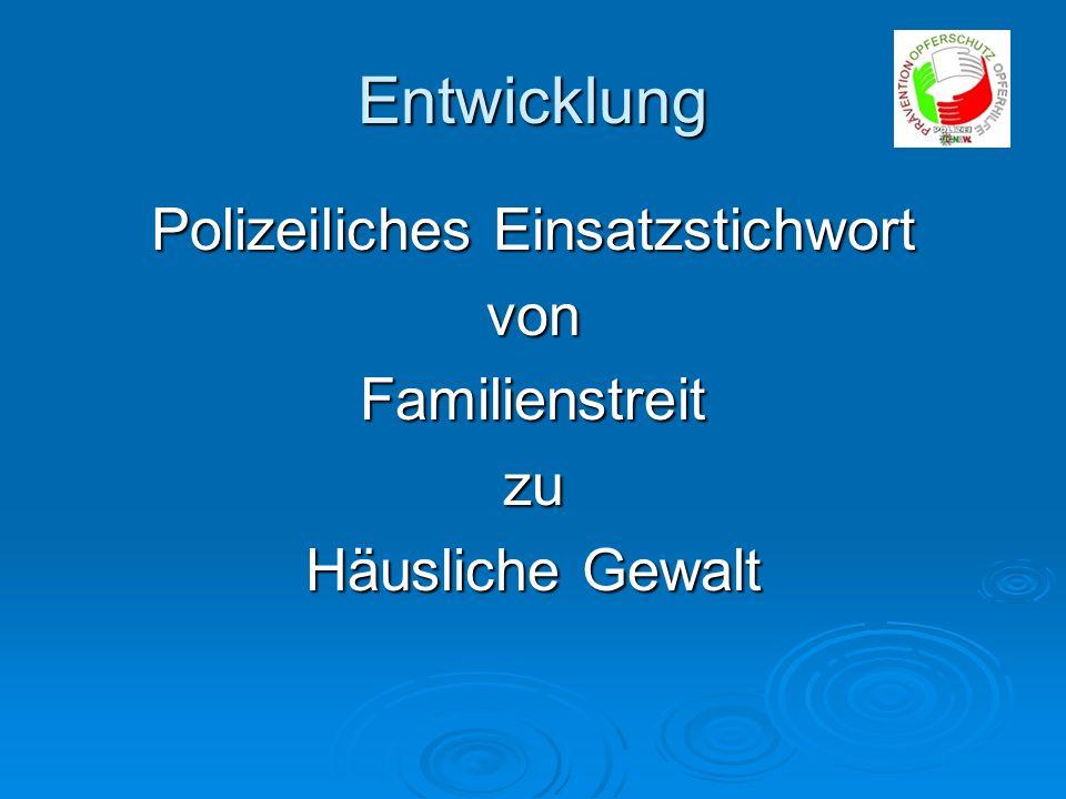 Entwicklung Polizeiliches Einsatzstichwort vonFamilienstreitzu Häusliche Gewalt