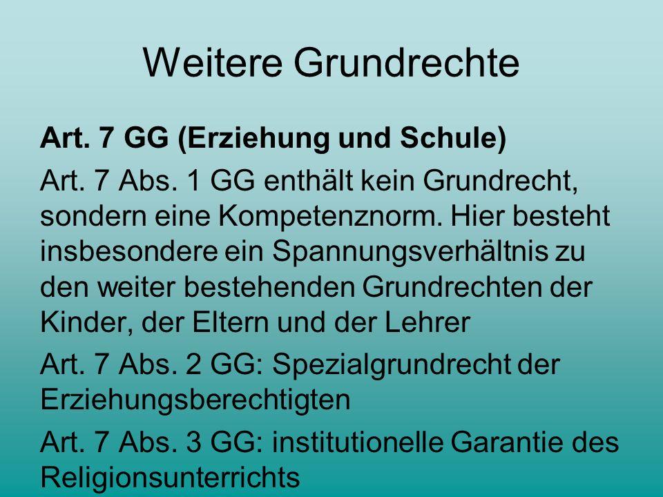 Weitere Grundrechte Art.7 GG (Erziehung und Schule) Art.