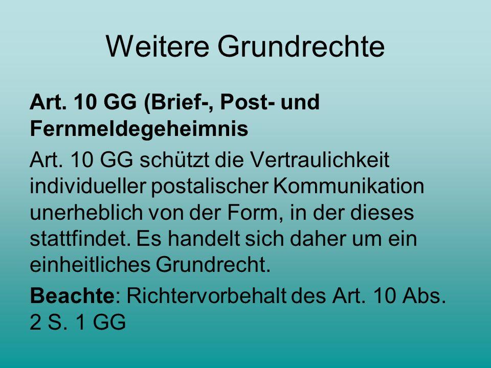 Weitere Grundrechte Art.10 GG (Brief-, Post- und Fernmeldegeheimnis Art.