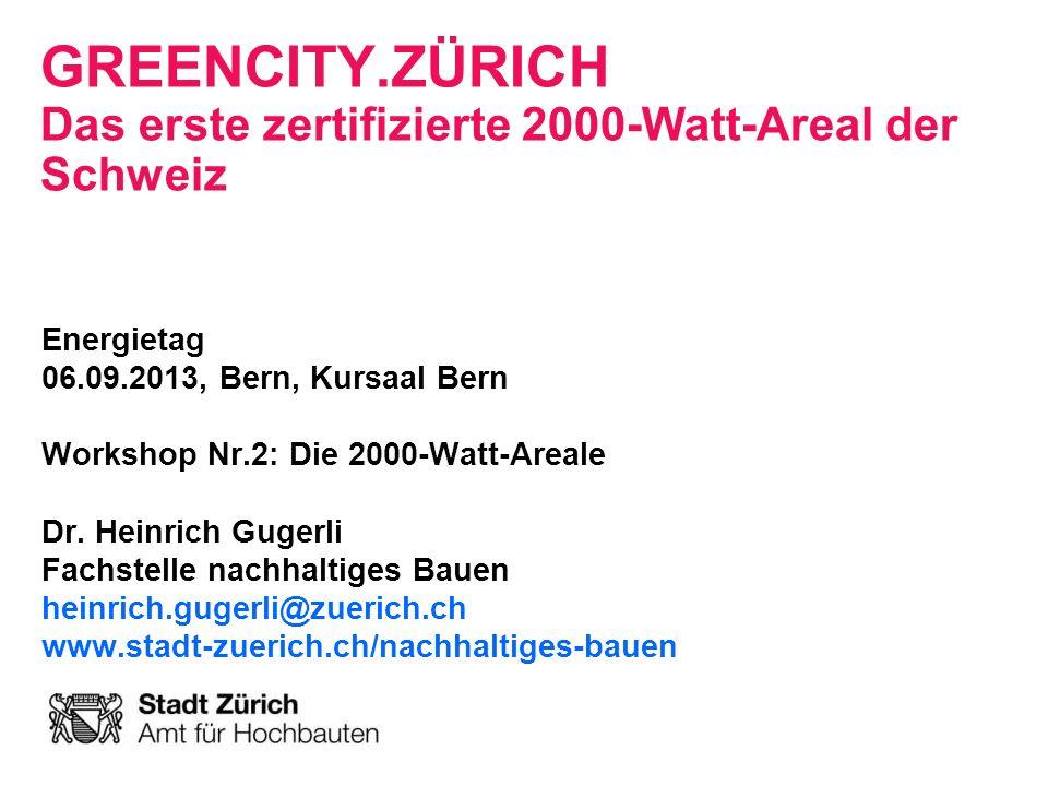 2000-Watt-Areale: GreenCity Energietag, 06.092013, Seite 22 Stadt Zürich Amt für Hochbauten Mobilität Sharing: –4 Standplätze für Car- sharing –E-Velosharing Elektromobilität: –Ladestationen für Elektrofahrzeuge : 100 Ladestationen privat 2 Ladestationen öffentlich –E-Velos