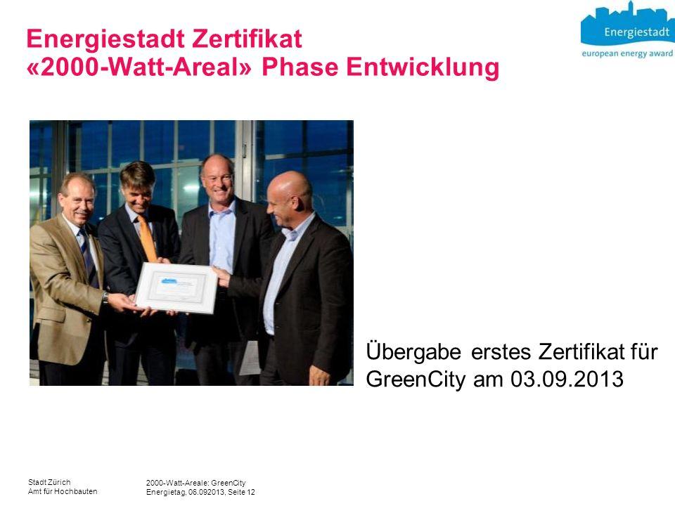 2000-Watt-Areale: GreenCity Energietag, 06.092013, Seite 12 Stadt Zürich Amt für Hochbauten Energiestadt Zertifikat «2000-Watt-Areal» Phase Entwicklun