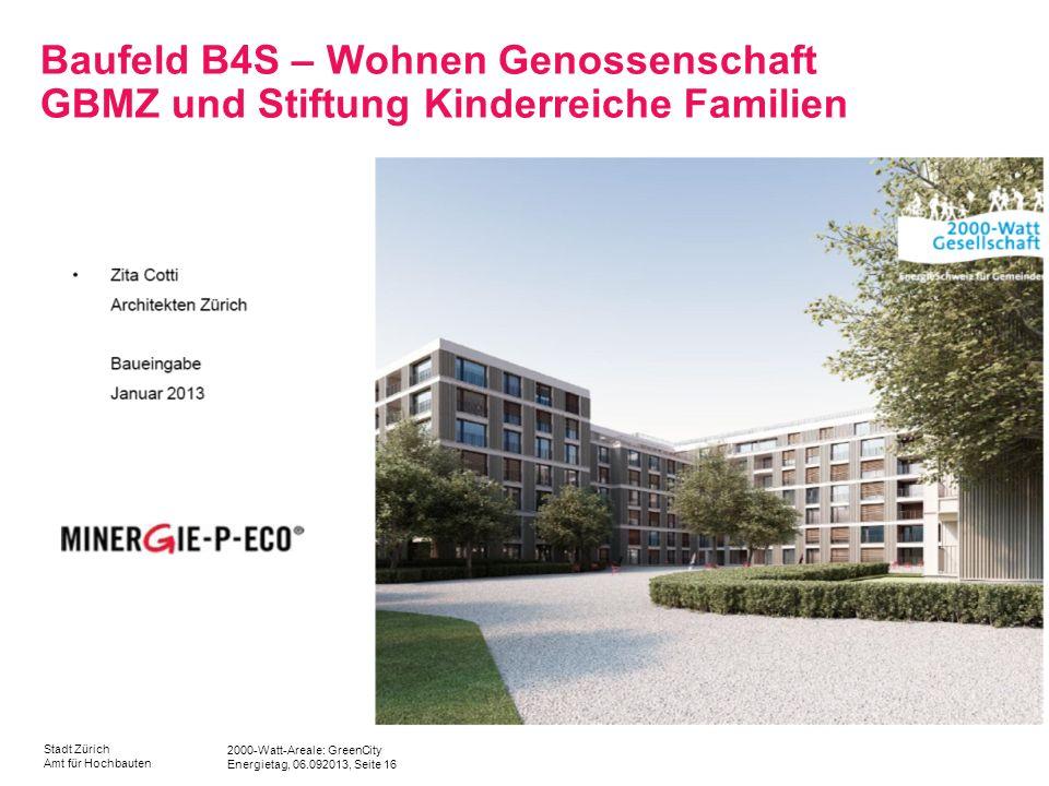 2000-Watt-Areale: GreenCity Energietag, 06.092013, Seite 16 Stadt Zürich Amt für Hochbauten Baufeld B4S – Wohnen Genossenschaft GBMZ und Stiftung Kind