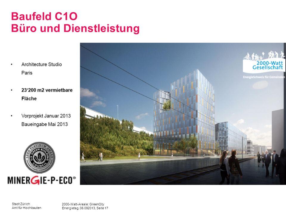 2000-Watt-Areale: GreenCity Energietag, 06.092013, Seite 17 Stadt Zürich Amt für Hochbauten Baufeld C1O Büro und Dienstleistung