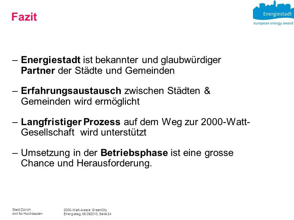 2000-Watt-Areale: GreenCity Energietag, 06.092013, Seite 24 Stadt Zürich Amt für Hochbauten Fazit –Energiestadt ist bekannter und glaubwürdiger Partne