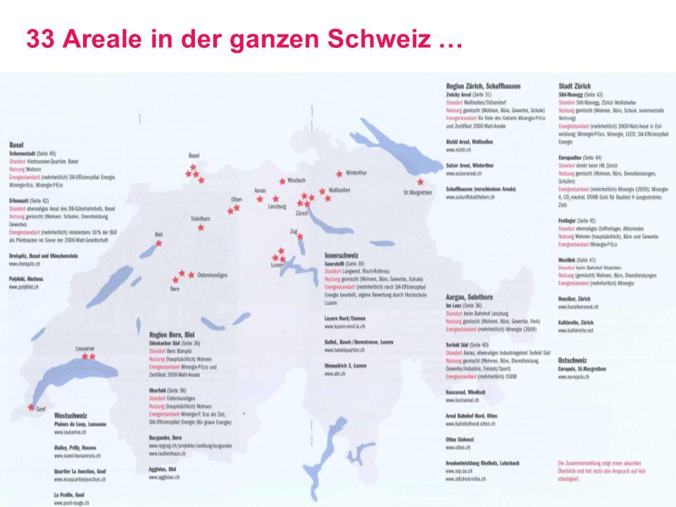 2000-Watt-Areale: GreenCity Energietag, 06.092013, Seite 26 Stadt Zürich Amt für Hochbauten 33 Areale in der ganzen Schweiz …