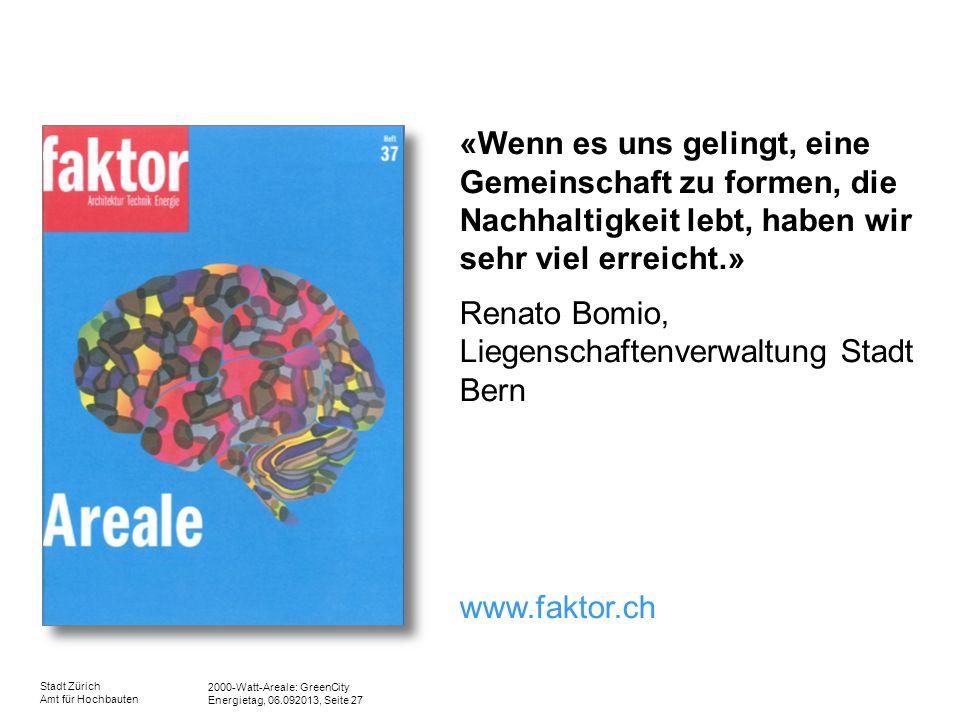 2000-Watt-Areale: GreenCity Energietag, 06.092013, Seite 27 Stadt Zürich Amt für Hochbauten «Wenn es uns gelingt, eine Gemeinschaft zu formen, die Nac