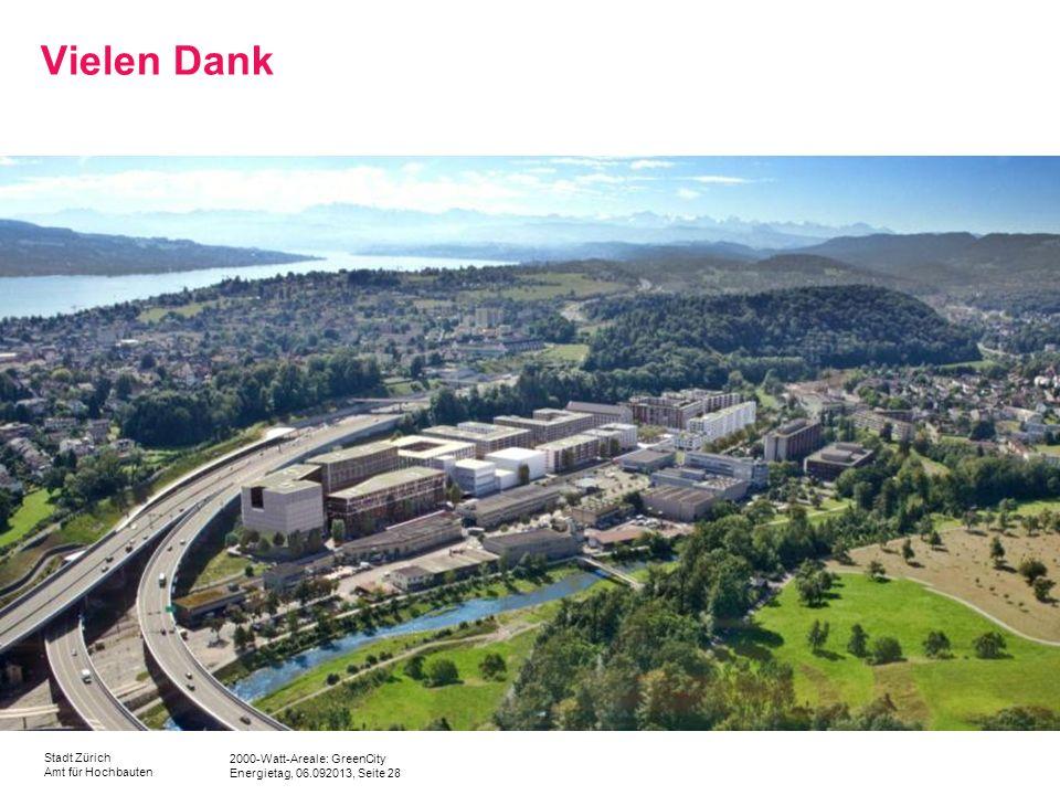2000-Watt-Areale: GreenCity Energietag, 06.092013, Seite 28 Stadt Zürich Amt für Hochbauten Vielen Dank