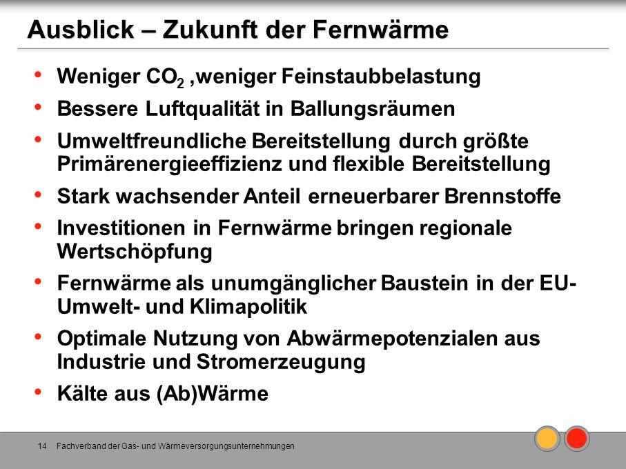 Ausblick – Zukunft der Fernwärme Weniger CO 2,weniger Feinstaubbelastung Bessere Luftqualität in Ballungsräumen Umweltfreundliche Bereitstellung durch