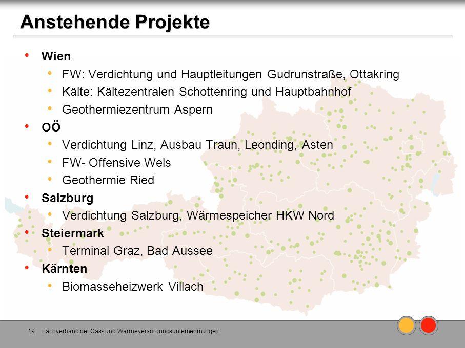 Wien FW: Verdichtung und Hauptleitungen Gudrunstraße, Ottakring Kälte: Kältezentralen Schottenring und Hauptbahnhof Geothermiezentrum Aspern OÖ Verdic