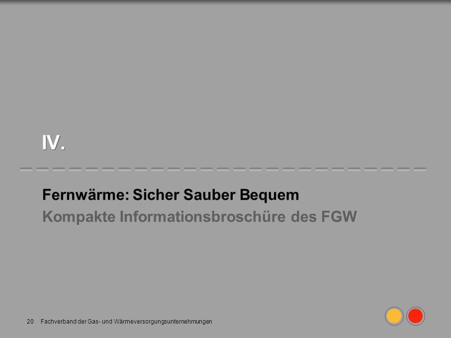 Fachverband der Gas- und Wärmeversorgungsunternehmungen20 IV. Fernwärme: Sicher Sauber Bequem Kompakte Informationsbroschüre des FGW