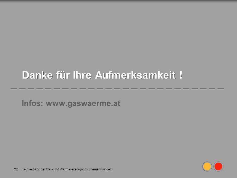 Fachverband der Gas- und Wärmeversorgungsunternehmungen22 Danke für Ihre Aufmerksamkeit ! Infos: www.gaswaerme.at
