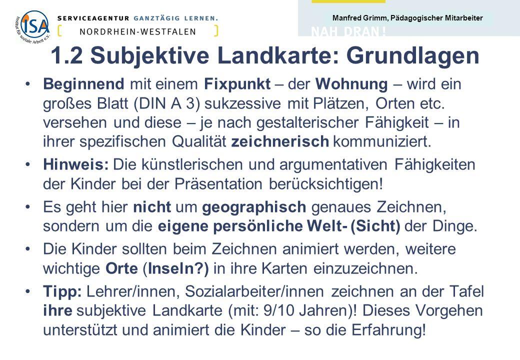 Manfred Grimm, Pädagogischer Mitarbeiter 1.2 Subjektive Landkarte: Grundlagen Beginnend mit einem Fixpunkt – der Wohnung – wird ein großes Blatt (DIN