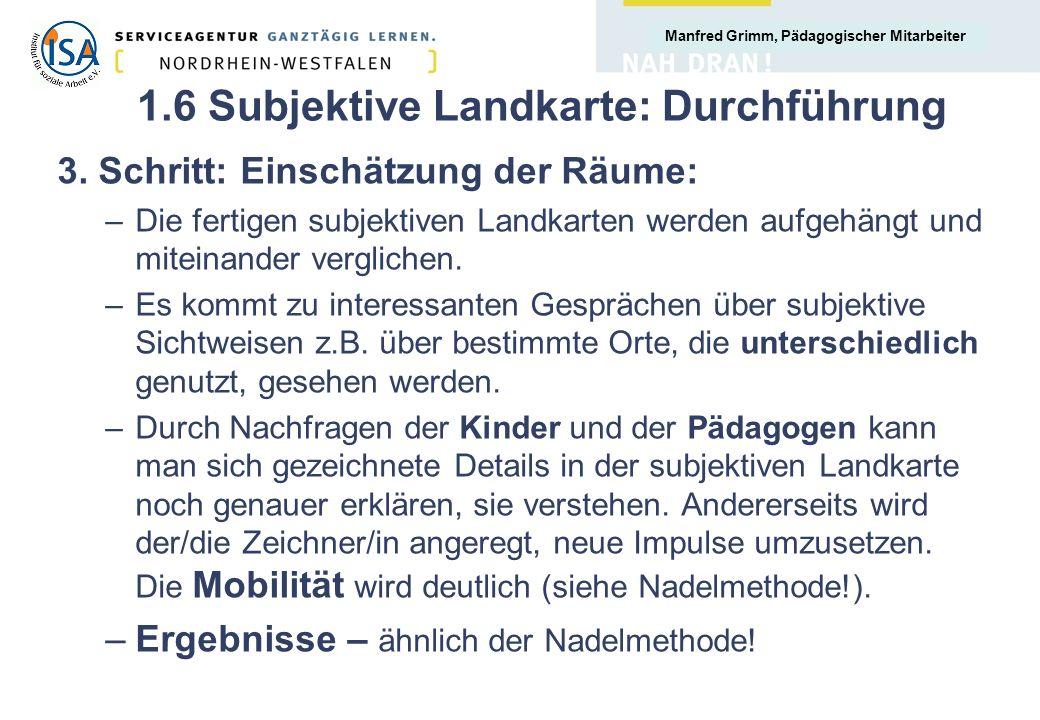 Manfred Grimm, Pädagogischer Mitarbeiter 1.6 Subjektive Landkarte: Durchführung 3. Schritt: Einschätzung der Räume: –Die fertigen subjektiven Landkart