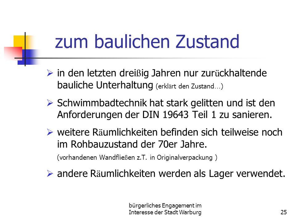 bürgerliches Engagement im Interesse der Stadt Warburg25 zum baulichen Zustand in den letzten drei ß ig Jahren nur zur ü ckhaltende bauliche Unterhalt
