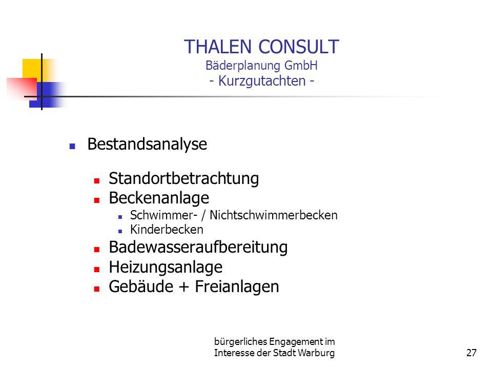 bürgerliches Engagement im Interesse der Stadt Warburg27 THALEN CONSULT Bäderplanung GmbH - Kurzgutachten - Bestandsanalyse Standortbetrachtung Becken