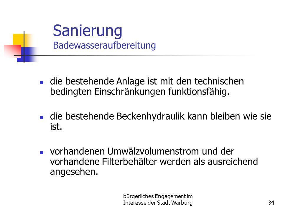 bürgerliches Engagement im Interesse der Stadt Warburg34 Sanierung Badewasseraufbereitung die bestehende Anlage ist mit den technischen bedingten Einschränkungen funktionsfähig.