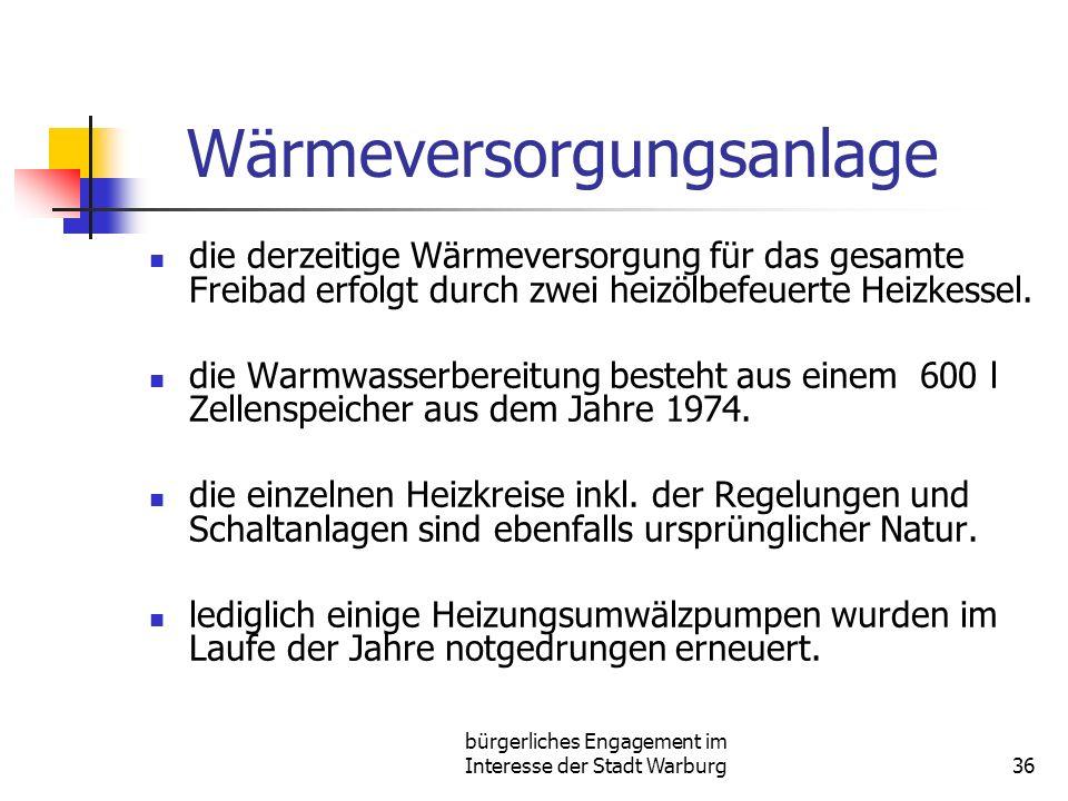 bürgerliches Engagement im Interesse der Stadt Warburg36 Wärmeversorgungsanlage die derzeitige Wärmeversorgung für das gesamte Freibad erfolgt durch zwei heizölbefeuerte Heizkessel.