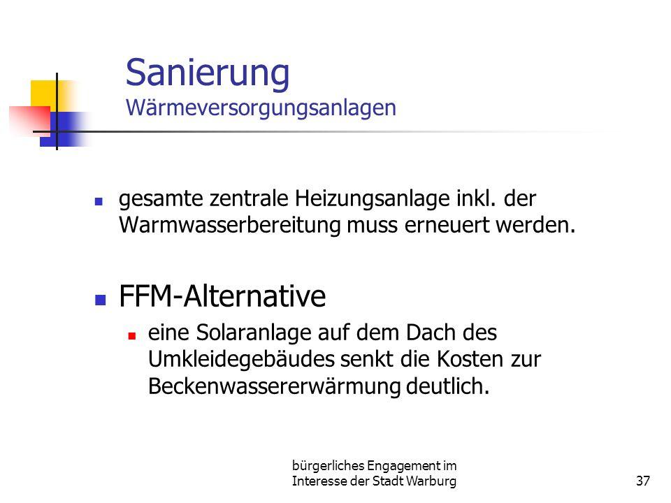 bürgerliches Engagement im Interesse der Stadt Warburg37 Sanierung Wärmeversorgungsanlagen gesamte zentrale Heizungsanlage inkl. der Warmwasserbereitu