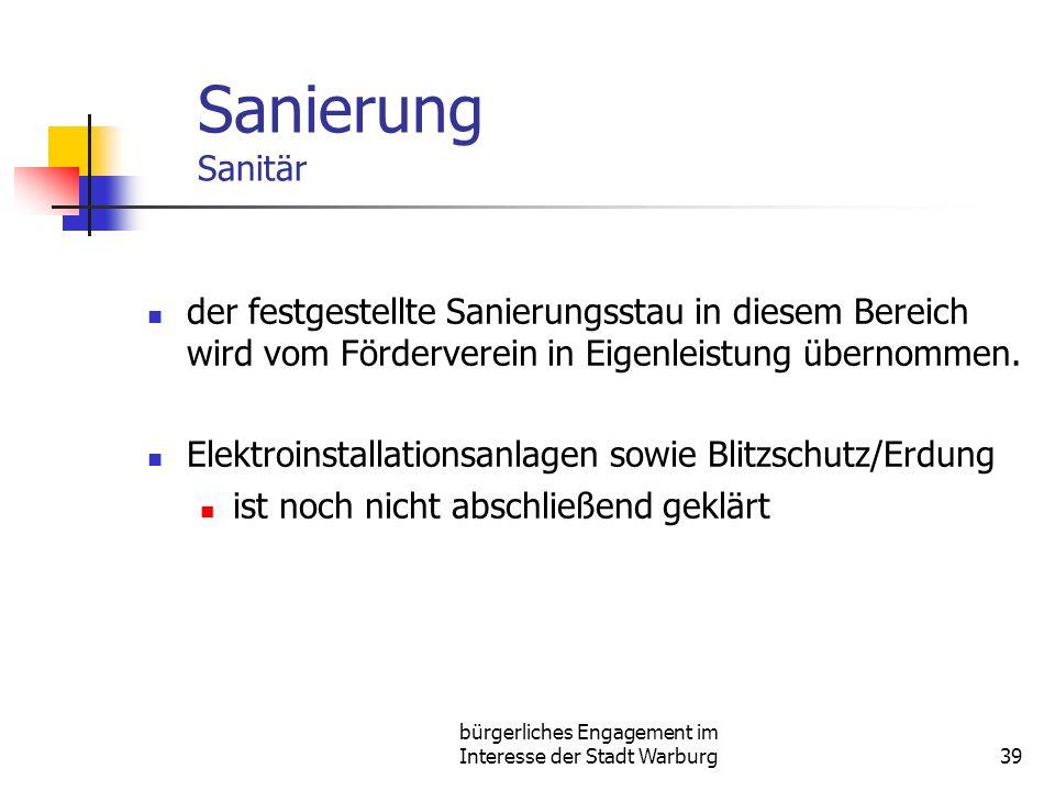 bürgerliches Engagement im Interesse der Stadt Warburg39 Sanierung Sanitär der festgestellte Sanierungsstau in diesem Bereich wird vom Förderverein in Eigenleistung übernommen.