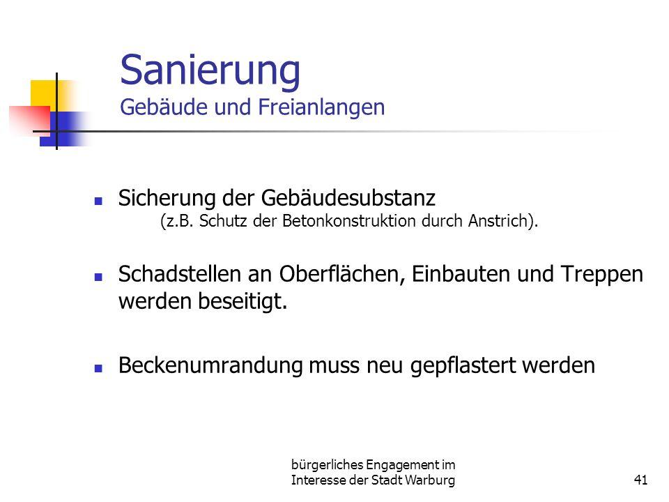 bürgerliches Engagement im Interesse der Stadt Warburg41 Sanierung Gebäude und Freianlangen Sicherung der Gebäudesubstanz (z.B. Schutz der Betonkonstr