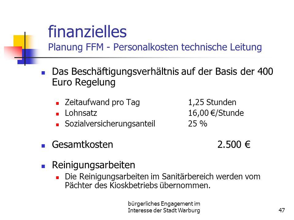 bürgerliches Engagement im Interesse der Stadt Warburg47 finanzielles Planung FFM - Personalkosten technische Leitung Das Beschäftigungsverhältnis auf