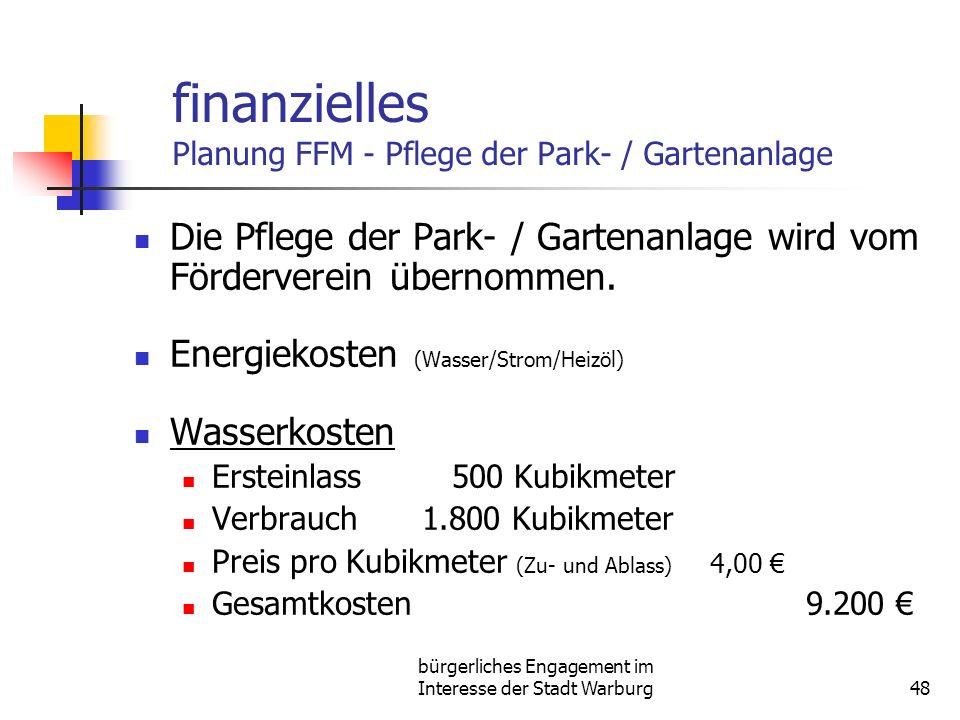 bürgerliches Engagement im Interesse der Stadt Warburg48 finanzielles Planung FFM - Pflege der Park- / Gartenanlage Die Pflege der Park- / Gartenanlage wird vom Förderverein übernommen.