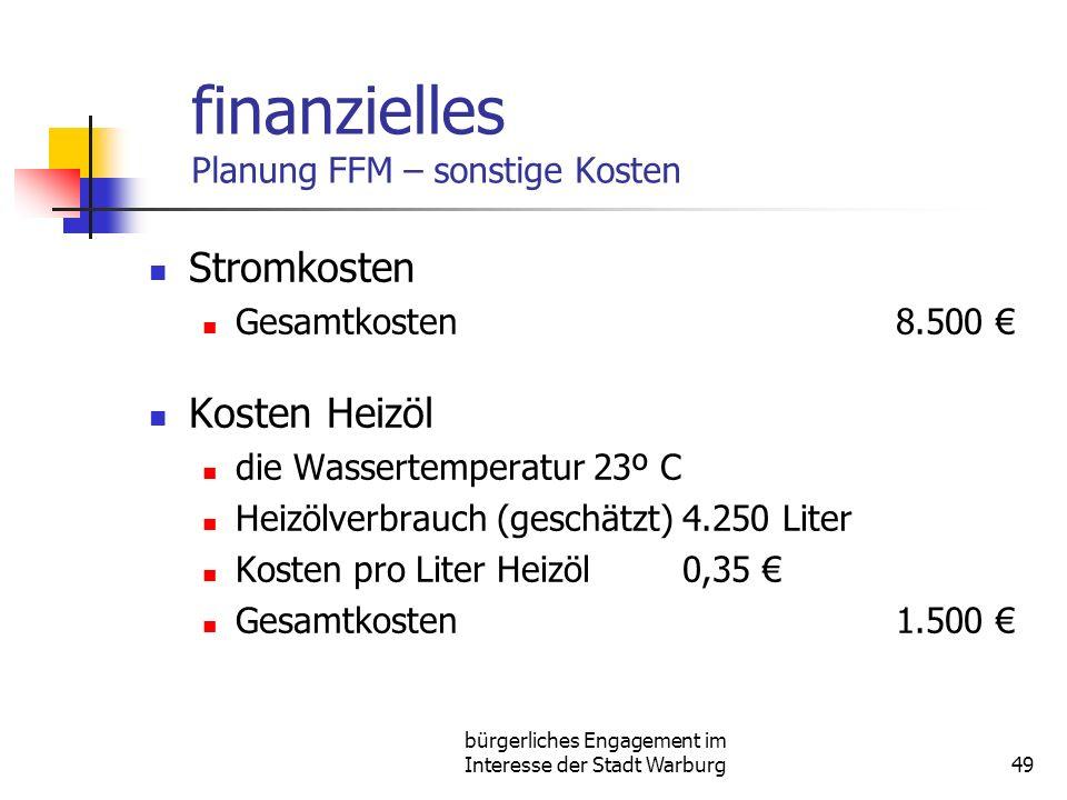 bürgerliches Engagement im Interesse der Stadt Warburg49 finanzielles Planung FFM – sonstige Kosten Stromkosten Gesamtkosten8.500 Kosten Heizöl die Wassertemperatur 23º C Heizölverbrauch (geschätzt)4.250 Liter Kosten pro Liter Heizöl0,35 Gesamtkosten1.500