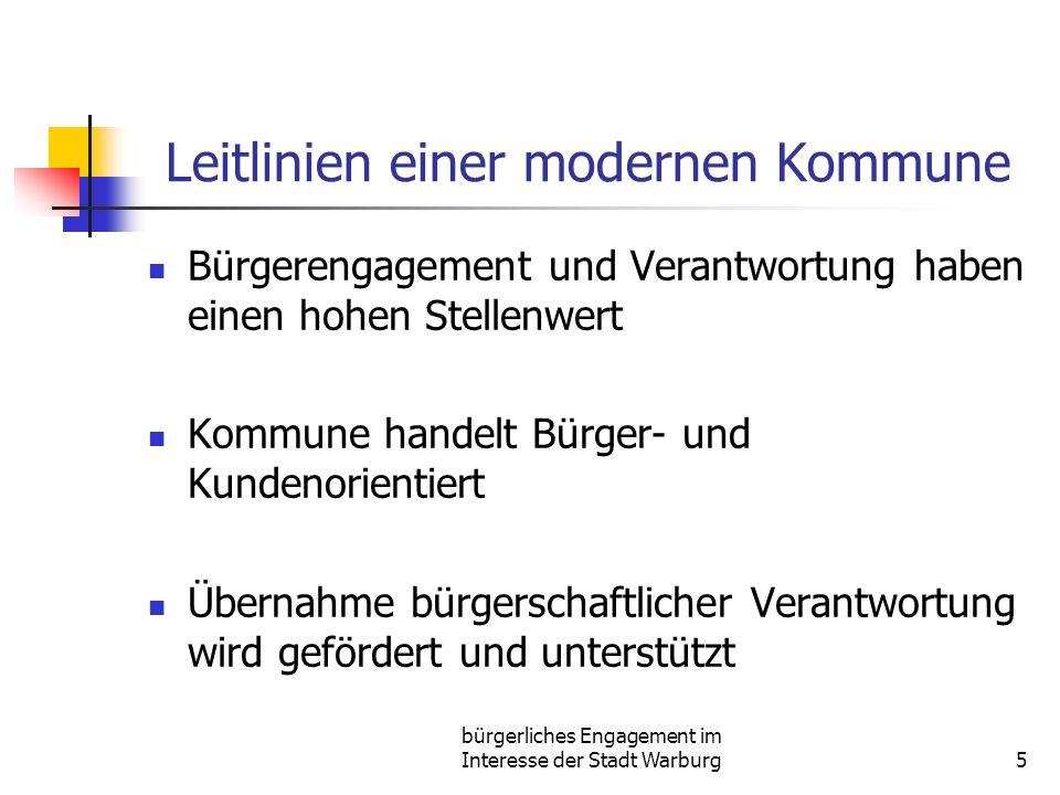bürgerliches Engagement im Interesse der Stadt Warburg5 Leitlinien einer modernen Kommune Bürgerengagement und Verantwortung haben einen hohen Stellen