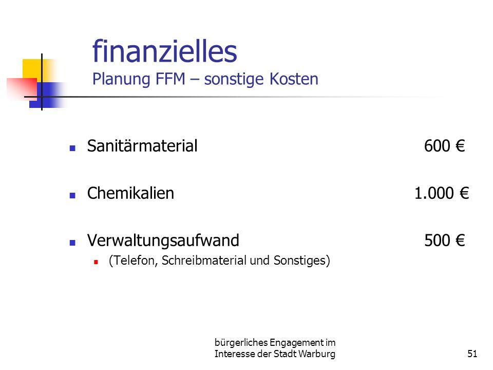 bürgerliches Engagement im Interesse der Stadt Warburg51 finanzielles Planung FFM – sonstige Kosten Sanitärmaterial 600 Chemikalien1.000 Verwaltungsaufwand 500 (Telefon, Schreibmaterial und Sonstiges)