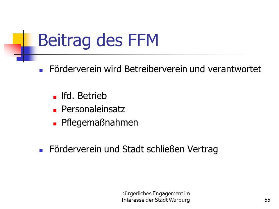 bürgerliches Engagement im Interesse der Stadt Warburg55 Beitrag des FFM Förderverein wird Betreiberverein und verantwortet lfd.