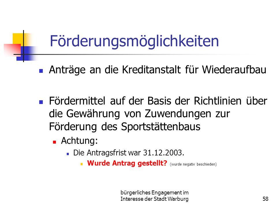 bürgerliches Engagement im Interesse der Stadt Warburg58 Förderungsmöglichkeiten Anträge an die Kreditanstalt für Wiederaufbau Fördermittel auf der Basis der Richtlinien über die Gewährung von Zuwendungen zur Förderung des Sportstättenbaus Achtung: Die Antragsfrist war 31.12.2003.
