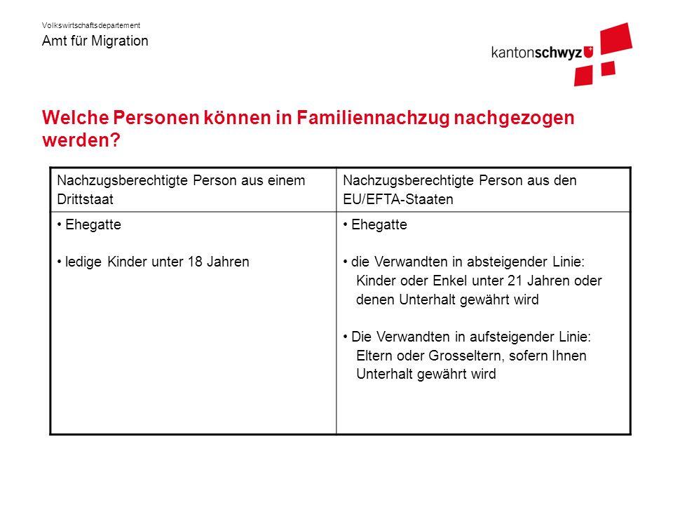 Amt für Migration Volkswirtschaftsdepartement Welche Personen können in Familiennachzug nachgezogen werden? Nachzugsberechtigte Person aus einem Dritt