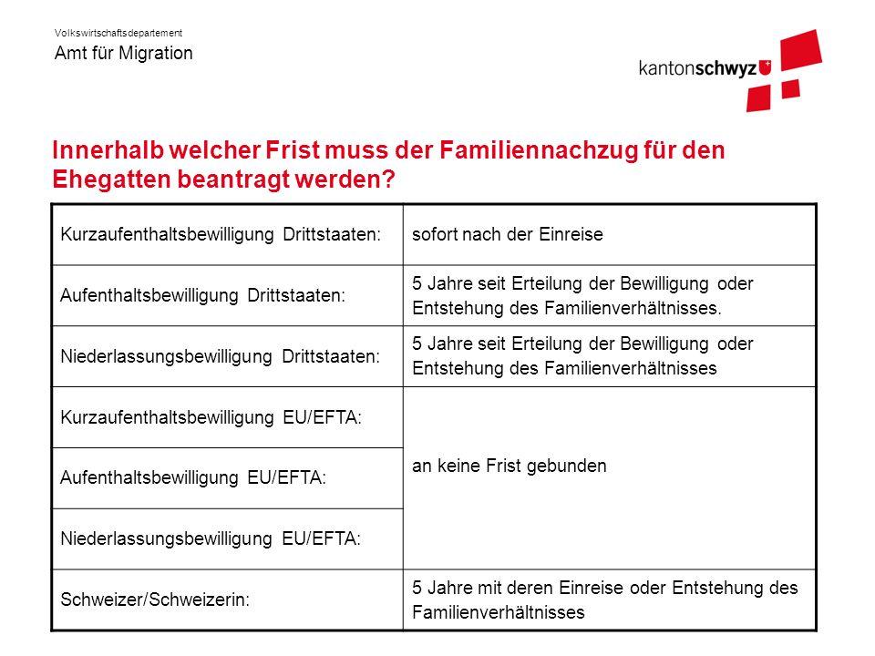 Amt für Migration Volkswirtschaftsdepartement Frist beim Familiennachzug bei Kindern Grundsätzlich gelten die gleichen Fristen wie auf der vorhergehenden Folie.